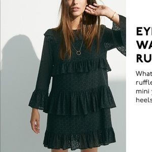 Madewell Black Eyelet Ruffle Dress